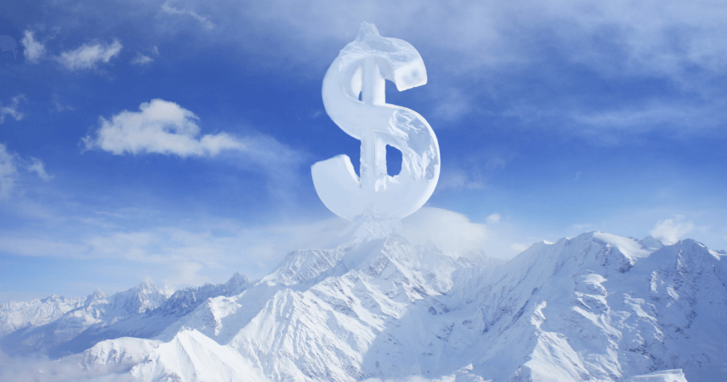 A snowy mountain scene with a dollar sign made of clouds on top of a mountain peak.