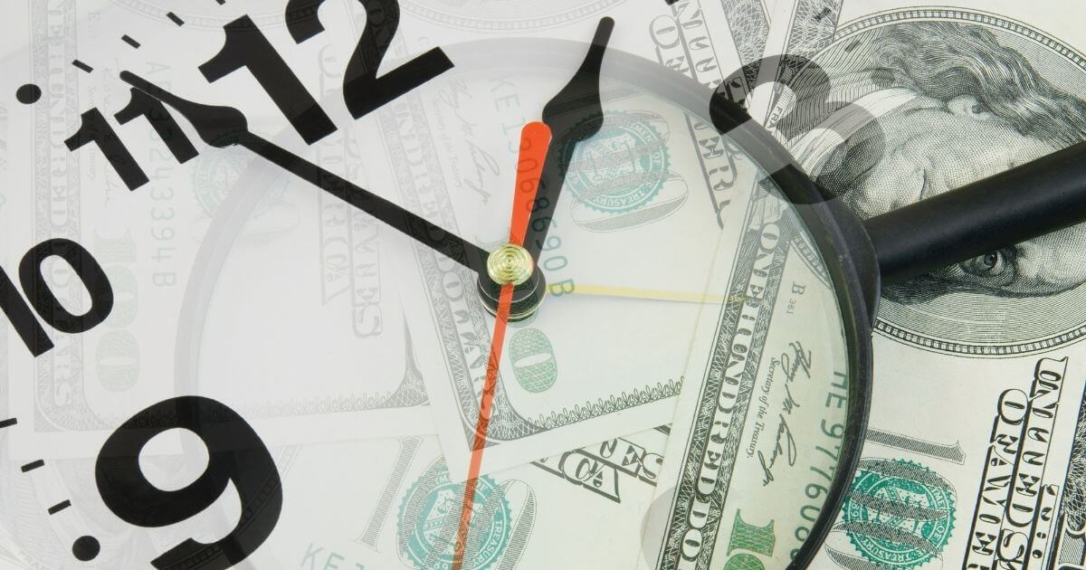 Image of clock superimposed over hundred dollar bills. Time is money when it comes to how to price your legal services.