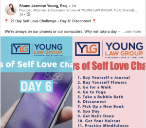 Shane Jasmine Young, Esq. 21 Day Self Love Challenge Post