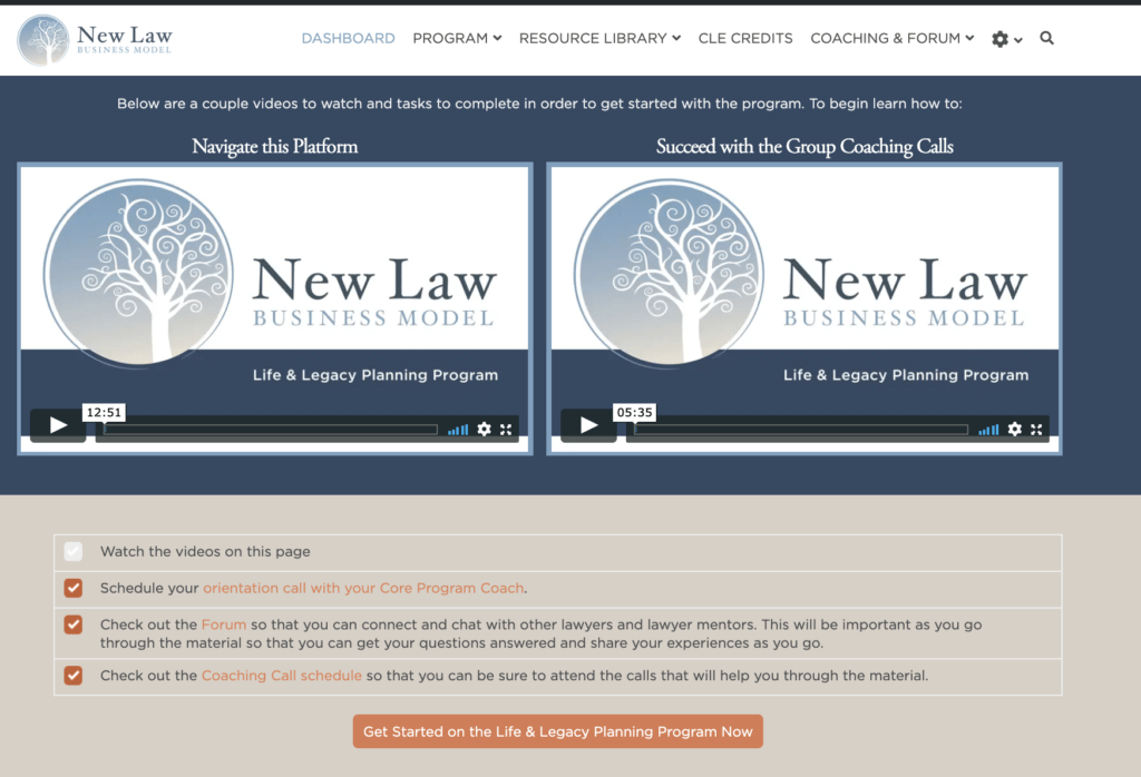 New Law Business Model upgraded curriculum screenshot