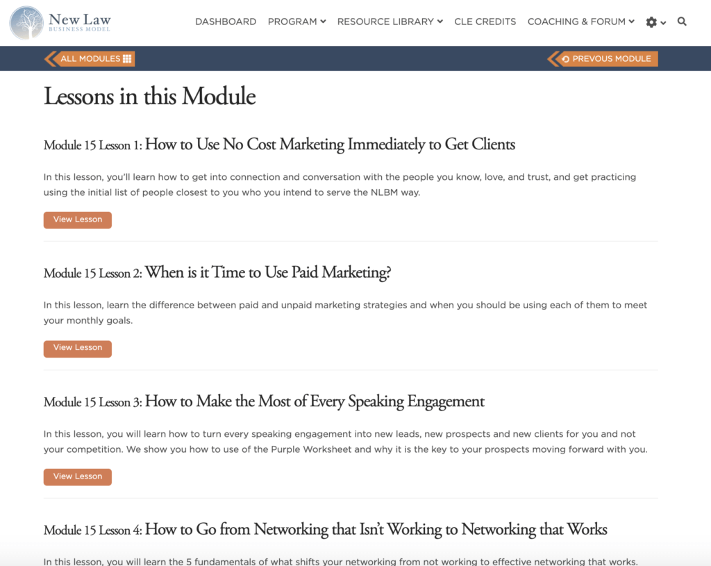 Marketing Your Law Practice Modules
