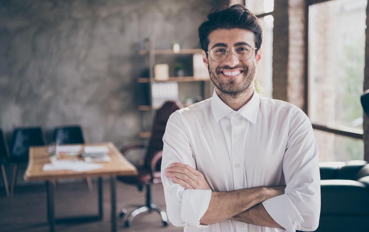 Portrait of successful entrepreneurial lawyer in enterprise office