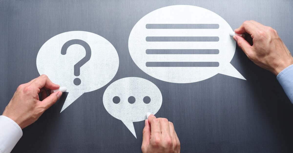 Three conversation bubbles against a chalkboard background representing communication skills to improve to gain more clients in your law practice.
