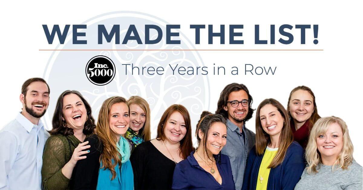 New Law Business Model team picture under Inc.5000 list announcement
