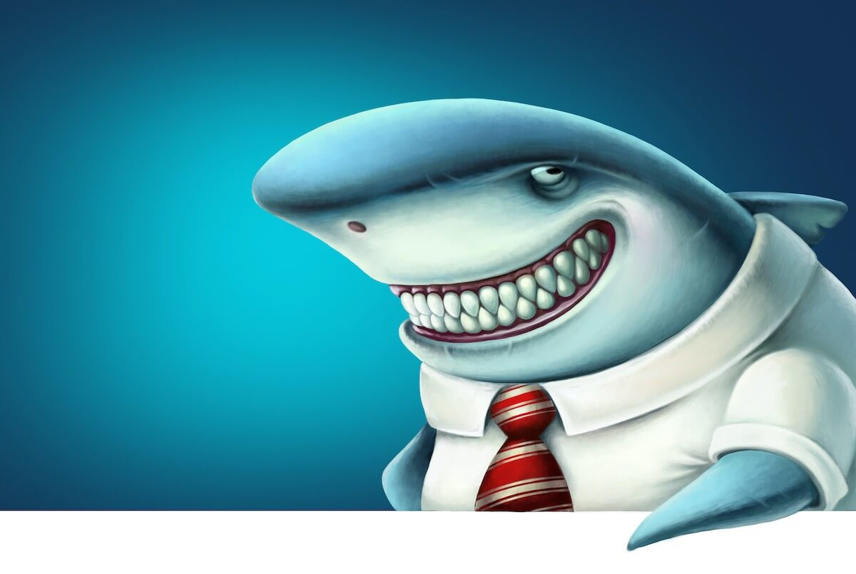 Illustration of business shark smiles slyly, cartoon, metaphor for lawyer stereotypes.