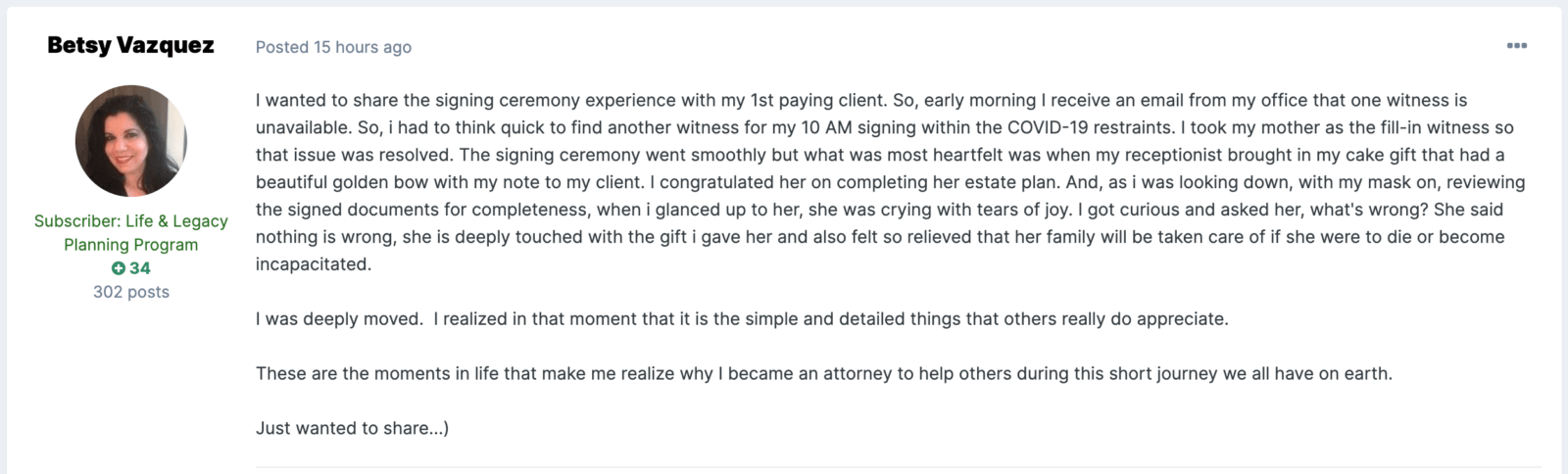 Betsy Vasquez Testimonial turning lawyer stereotypes on their head.