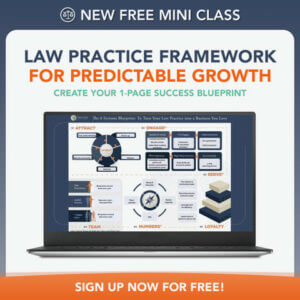 Law Practice Framework for Predictable Growth Mini Class, graphic for offered class for lawyers from New Law Business Model