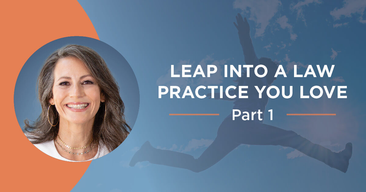 """Circular image of Ali Katz, NLBM founder, next to copy that reads """"Leap Into a Law Practice You Love Part 1, overlayed on transparent image of girl leaping in the air."""