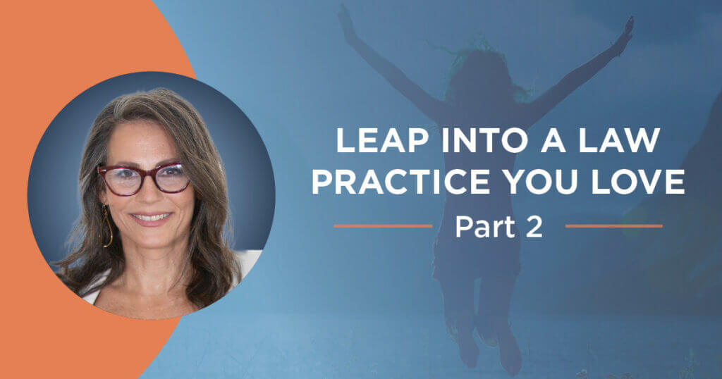 """Circular image of Ali Katz, NLBM founder, on the left, next to copy that reads """"Leap Into a Law Practice You Love Part 2, overlayed on transparent image of woman leaping in the air."""